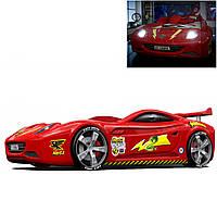 Кровать в виде гоночного автомобиля Viper turbo (красный и белый)