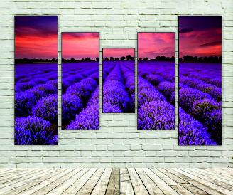 """Модульна картина """"Захід сонця на лавандовому полі"""""""