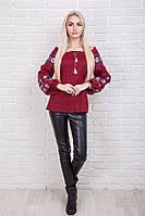 Женская вышиванка из льна с рукавами фонариками, бордового цвета