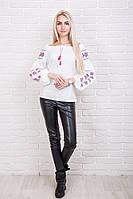 Женская вышиванка из льна с рукавами фонариками, молочного цвета