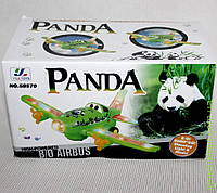 Самолет Панда в коробке, свет, звук, муз, на батарейках.