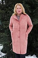 Демисезонная женское пальто из искусственной замши