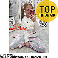 Женская пижама белая из коттона, пижама для девочки / домашний костюм, красивый, нежный, приятный к телу