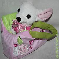 Собака чихуахуа белая с сумочкой в платье