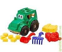 """Сортер-трактор """"Кузнечик"""" №2: трактор с вкладышами, лопатка и грабельки (ЛГ4), две большие пасочки (П4) COLORplast"""