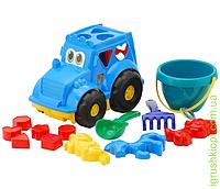 """Сортер-трактор """"Кузнечик"""" №3: трактор с вкладышами, ведёрко, лопатка и грабельки (ЛГ3) и три пасочки (П3) COLORplast"""