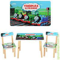 Столик деревянный, 60-40см, 2 стульчика, паровозик, в кор-ке