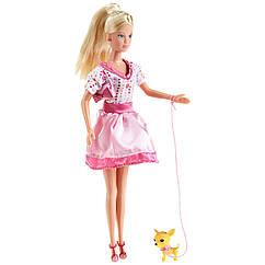 Кукла Штеффи с собакой в платье в горошек. Оригинал Simba 5734908-1