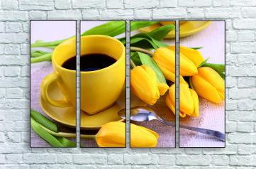 """Модульна картина """"Жовті тюльпани з кавою"""""""