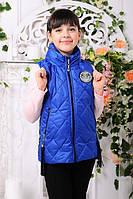 Детская жилетка «Анюта» с прячущимся капюшоном на девочек 6-8 лет (р. 30-34 / 116-128) ТМ MANIFIK Электрик