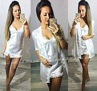 Шелковый комплект женский короткий халат с пеньюаром украшен кружевом молочный , фото 1