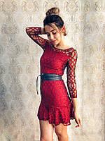 Элегантное бордовое платье органза с вышивкой и пояс экокожа