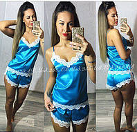 Комплект топ майка с шортиками для сна шелк голубой с белым груживом 42-44 44-46