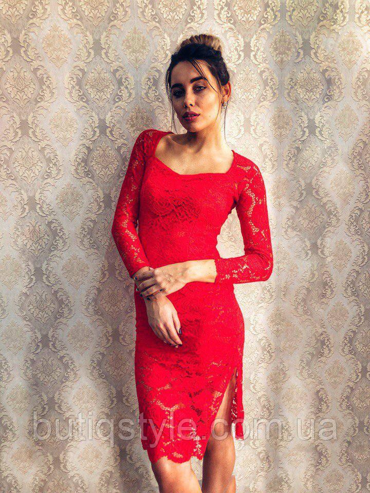 Элегантное красивое гипюровое красное, зеленое платье с поясом экокожа миди