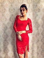 Элегантное красивое гипюровое красное платье с поясом экокожа миди