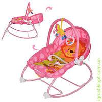 Шезлонг-качалка детский муз, свет, вибро, дуга, подвески 3 шт, розовый, в кор-ке,кресло-качалка