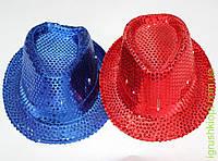 Шляпа-цилиндр блестящая с подсветкой