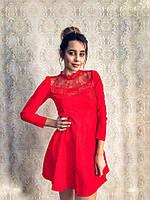 Стильное женское платье жаккард с кружевом, стразами, красное, голубое, розовое