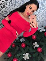 Красивое красное трикотажное женское платье в комплекте рукава