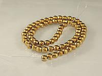 Бусы из гематита, шар граненный,6мм, золотой, фото 1