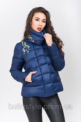 Стильная болоньевая куртка с камнями деми синяя, розовая, красная, мята