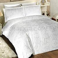 Белое красивое постельное белье сатин евро Blenda, Белый