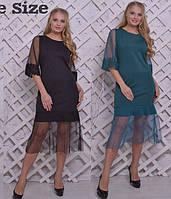 Нарядное платье болшого размера с сеткой и макраме 615523