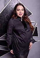 Хлопковая женская блуза в больших размерах с кружевом 1015550