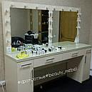 Стол для визажиста на два рабочих места, зеркало с подсветкой, фото 4