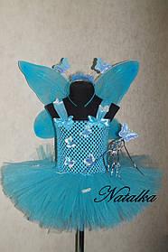"Карнавальная юбка-платье из фатина ""Голубая бабочка"""