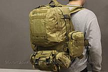 Тактический Штурмовой Военный Рюкзак с подсумками на 50-60 литров (1004-coyote), фото 3