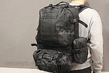 Тактический Штурмовой Военный Рюкзак с подсумками на 50-60 литров Black (1004 черный), фото 3
