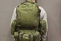 Тактический Штурмовой Военный Рюкзак с подсумками на 50-60 литров Olive (1004 олива), фото 3