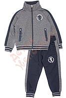 """Спортивный костюм для мальчика """"Эмблема по кругу"""" """"Wanhill"""", серый и синий, 122(92-122), 122 см"""
