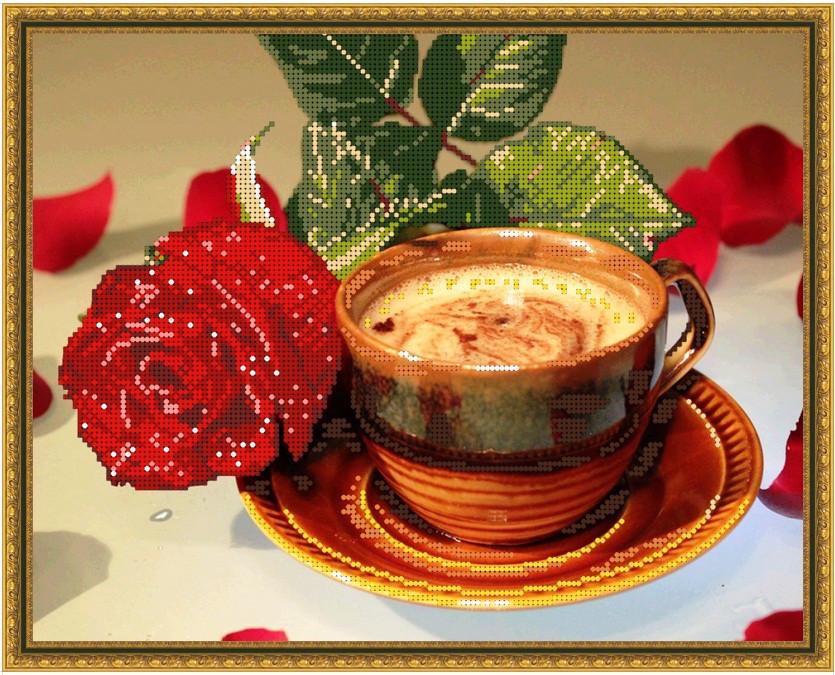 Б-3384 Кофейная роза. Схема для вышивки бисером