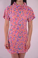 Платье туника диско розовая молодежка с паеткой