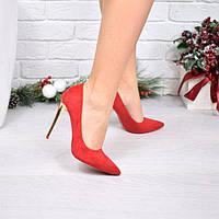 Туфли лодочки женские на шпильке  красный замша Lady Star  4042