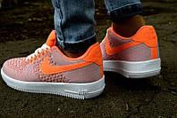 Кроссовки женские Nike Air Force Flyknit оранжевые 2017