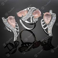 Серебряный комплект 033 Кварц розовый Rh