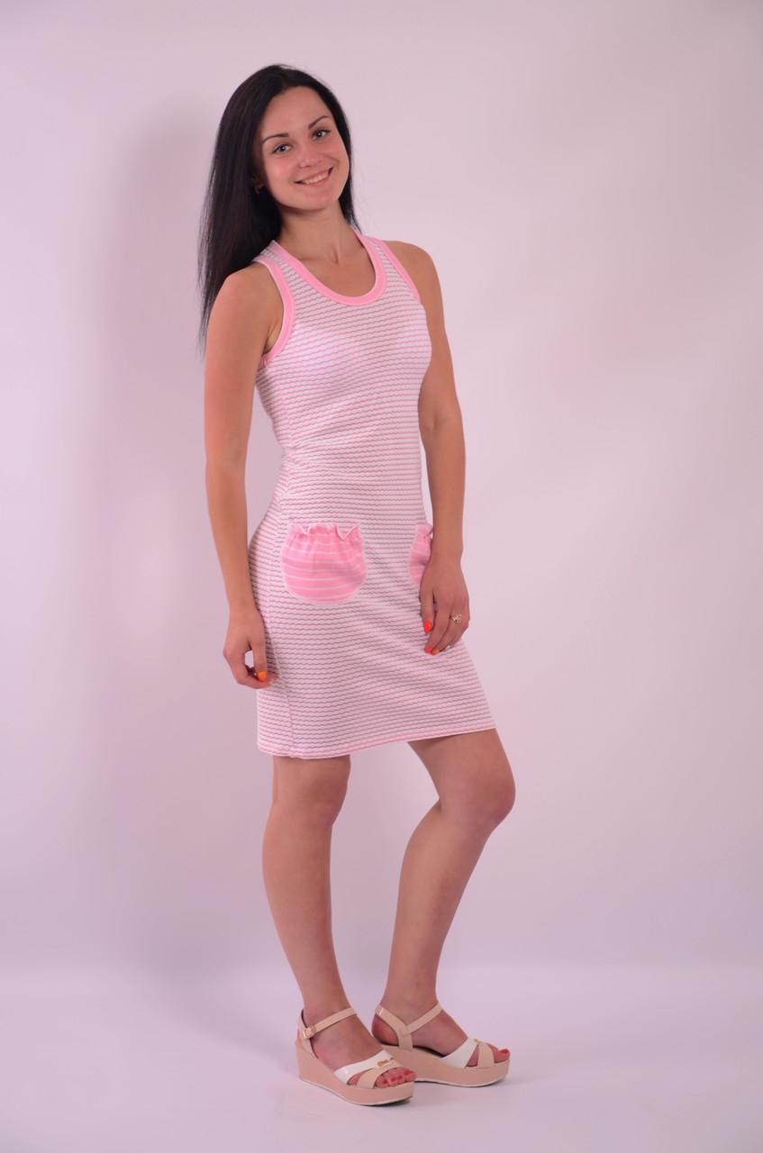 Платье спорт хлопок розовое  белое майка ПЛ 478226