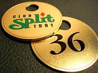 Номерок металлический круглый, латунный 30х30 мм односторонний (Цепочка и колечко: Да; ), фото 1