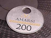 Овальный металлический номерок с покрытием никель 36х29 мм односторонний (Цепочка и колечко: Да; )