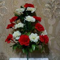 Искусственные цветы Гвоздика бело- красная