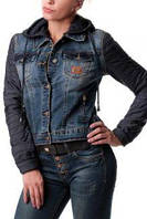 """Куртка джинсовая женская M.SARA (40-50) """"Uno"""" - купить оптом со склада 2RS-1864"""