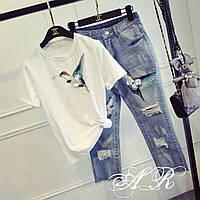 Костюм (Фабричный Китай) качество люкс джинсы +футболка аппликация вышивка М, 2