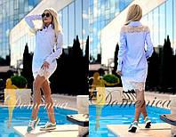 Платье - рубашка. Ткань - легкий котон, вставки из итальянского кружева. Размер С и М. (21344)