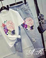 Костюм (Фабричный Китай) качество люкс джинсы +футболка аппликация вышивка Л, 1