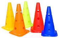 Фишка спортивная конус с отверстиями для штанги 38см  (пластик мягкий, h-38см(15in), цвета в ассортимент