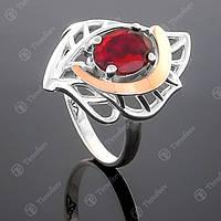 Перстень серебряный 281 Гранат Rh