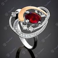 Перстень серебряный 285 Гранат Rh